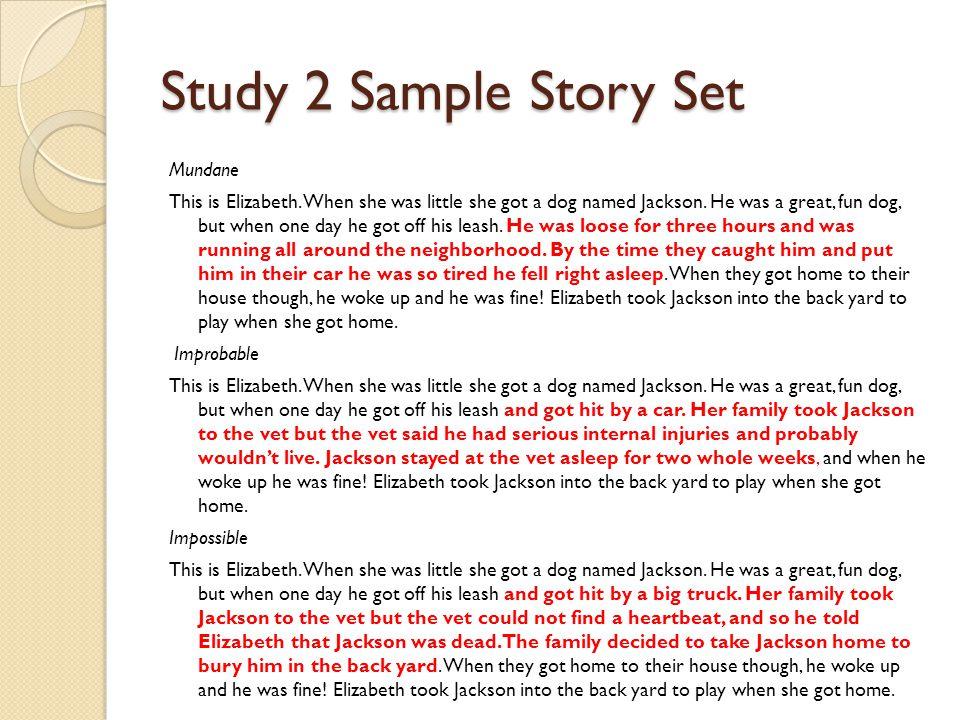 Study 2 Sample Story Set Mundane This is Elizabeth.