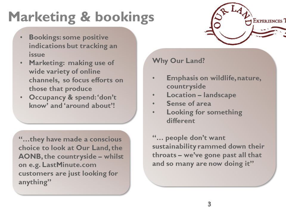 Marketing & bookings Bookings: some positive indications but tracking an issue Marketing: making use of wide variety of online channels, so focus efforts on those that produce Occupancy & spend: 'don't know' and 'around about'.