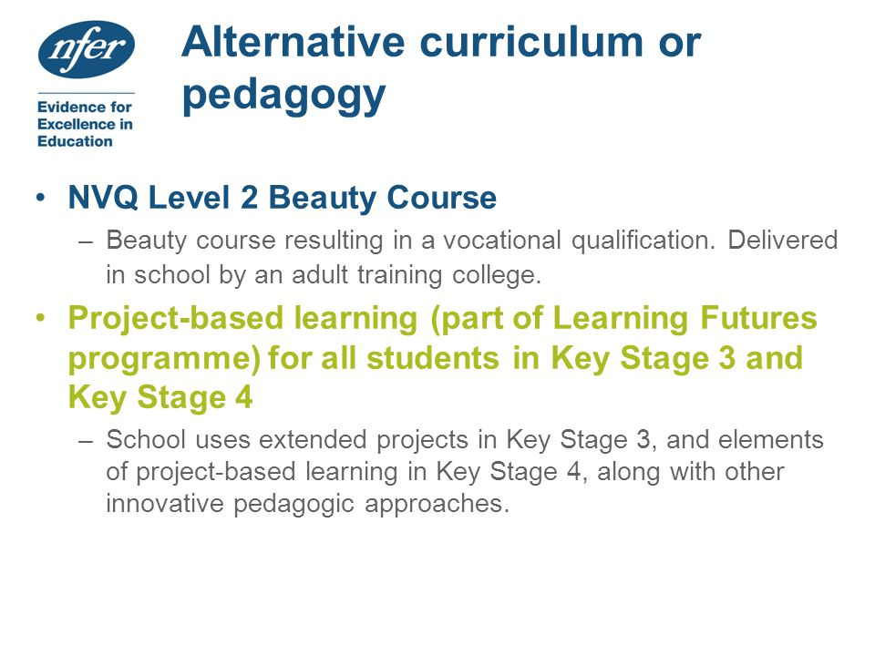 Alternative curriculum or pedagogy NVQ Level 2 Beauty Course –Beauty course resulting in a vocational qualification.