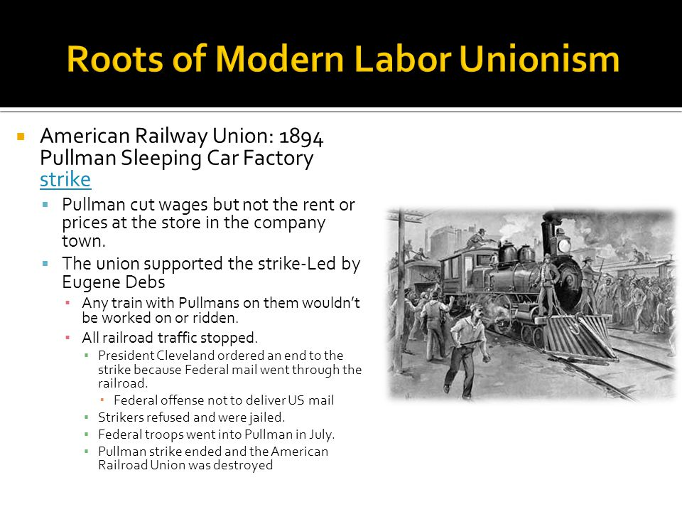  American Railway Union: 1894 Pullman Sleeping Car Factory strike strike  Pullman cut wages but not the rent or prices at the store in the company t