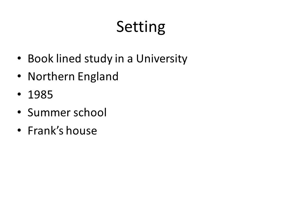 Setting Book lined study in a University Northern England 1985 Summer school Frank's house