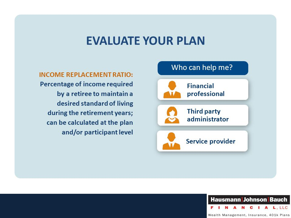 EVALUATE YOUR PLAN INCOME REPLACEMENT RATIO: Percentage of income required by a retiree to maintain a desired standard of living during the retirement years; can be calculated at the plan and/or participant level Who can help me.