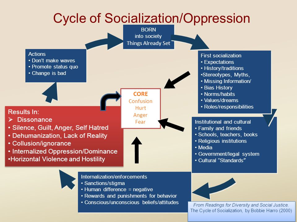 Cycle of Socialization/Oppression Actions Don't make waves Promote status quo Change is bad Actions Don't make waves Promote status quo Change is bad Results In:  Dissonance Silence, Guilt, Anger, Self Hatred Dehumanization, Lack of Reality Collusion/ignorance Internalized Oppression/Dominance Horizontal Violence and Hostility Results In:  Dissonance Silence, Guilt, Anger, Self Hatred Dehumanization, Lack of Reality Collusion/ignorance Internalized Oppression/Dominance Horizontal Violence and Hostility Internalization/enforcements Sanctions/stigma Human difference = negative Rewards and punishments for behavior Conscious/unconscious beliefs/attitudes Internalization/enforcements Sanctions/stigma Human difference = negative Rewards and punishments for behavior Conscious/unconscious beliefs/attitudes CORE Confusion Hurt Anger Fear BORN into societ y Things Already Set BORN into societ y Things Already Set Institutional and cultural Family and friends Schools, teachers, books Religious institutions Media Government/legal system Cultural Standards Institutional and cultural Family and friends Schools, teachers, books Religious institutions Media Government/legal system Cultural Standards First socialization Expectations History/traditions Stereotypes, Myths, Missing Information/ Bias History Norms/habits Values/dreams Roles/responsibilities First socialization Expectations History/traditions Stereotypes, Myths, Missing Information/ Bias History Norms/habits Values/dreams Roles/responsibilities From Readings for Diversity and Social Justice.