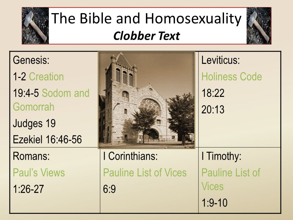 The Bible and Homosexuality Clobber Text Genesis: 1-2 Creation 19:4-5 Sodom and Gomorrah Judges 19 Ezekiel 16:46-56 Leviticus: Holiness Code 18:22 20: