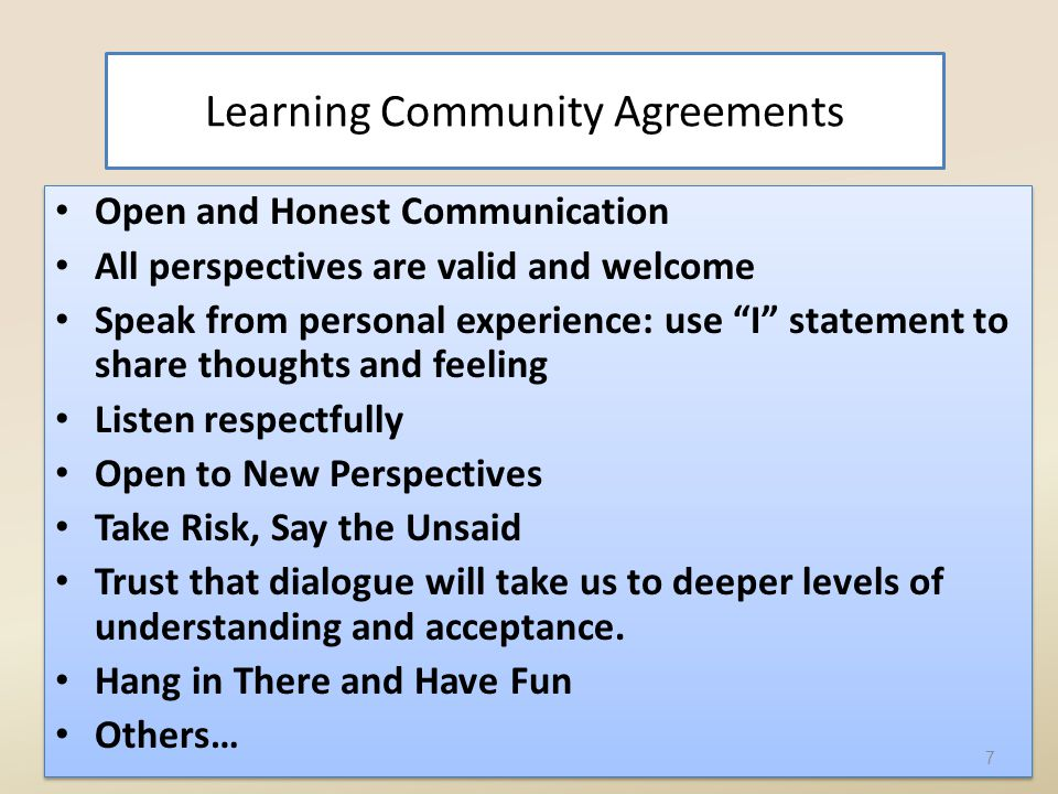 Learning Community Agreements Open and Honest Communication All perspectives are valid and welcome Speak from personal experience: use I statement to share thoughts and feeling Listen respectfully Open to New Perspectives Take Risk, Say the Unsaid Trust that dialogue will take us to deeper levels of understanding and acceptance.