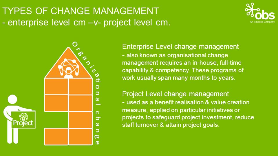 TYPES OF CHANGE MANAGEMENT - enterprise level cm –v- project level cm.
