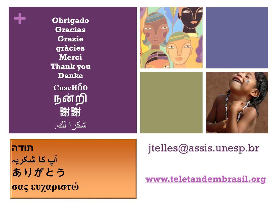 + jtelles@assis.unesp.br www.teletandembrasil.org Obrigado Gracias Grazie gràcies Merci Thank you Danke Спас ибо நன்றி 謝謝 شكرا لك.
