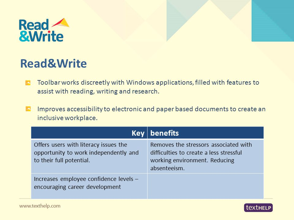 Read&Write Toolbar works discreetly with Windows applications, filled with features to assist with reading, writing and research. Improves accessibili