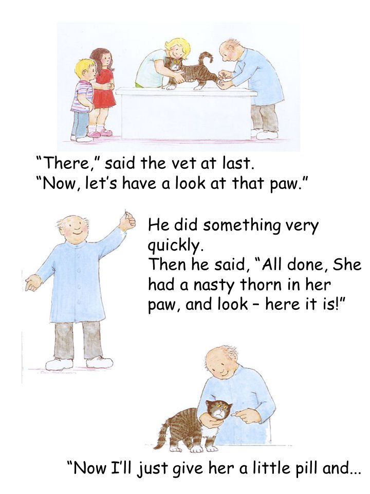 """There,"" said the vet at last. ""Now, let's have a look at that paw."" He did something very quickly. Then he said, ""All done, She had a nasty thorn in"