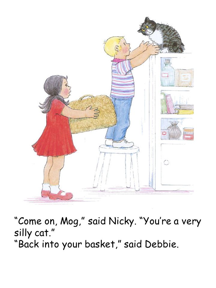 """Come on, Mog,"" said Nicky. ""You're a very silly cat."" ""Back into your basket,"" said Debbie."