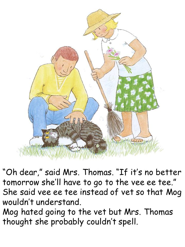"""Oh dear,"" said Mrs. Thomas. ""If it's no better tomorrow she'll have to go to the vee ee tee."" She said vee ee tee instead of vet so that Mog wouldn't"