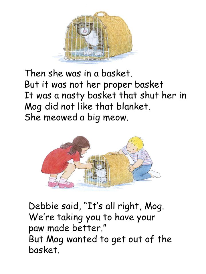 Then she was in a basket. But it was not her proper basket It was a nasty basket that shut her in Mog did not like that blanket. She meowed a big meow