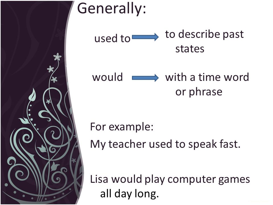 Generally: used to would For example: My teacher used to speak fast.