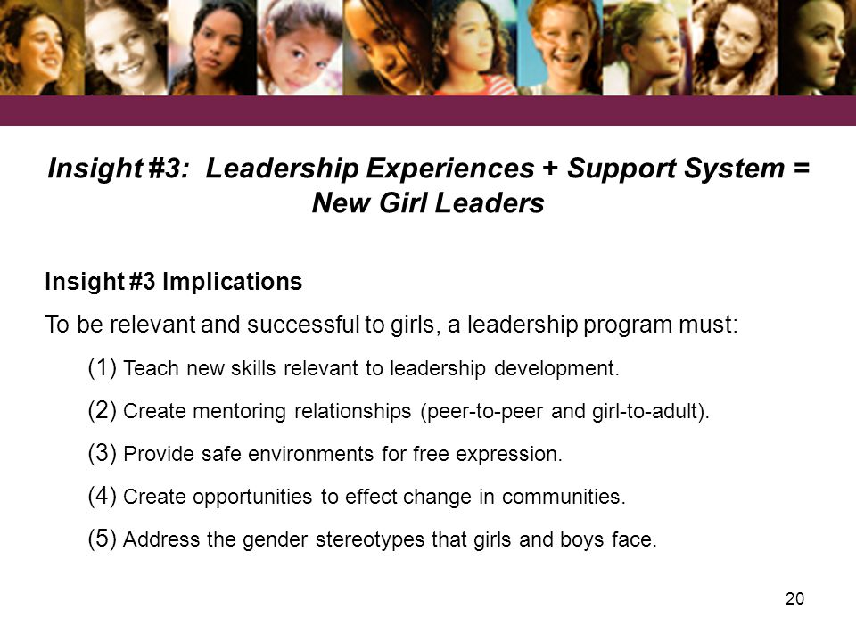 20 Insight #3: Leadership Experiences + Support System = New Girl Leaders Insight #3 Implications To be relevant and successful to girls, a leadership program must: (1) Teach new skills relevant to leadership development.