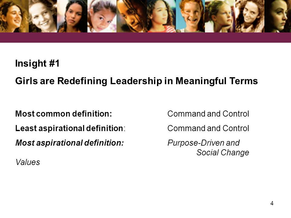 4 Insight #1 Girls are Redefining Leadership in Meaningful Terms Most common definition: Command and Control Least aspirational definition: Command and Control Most aspirational definition: Purpose-Driven and Social Change Values