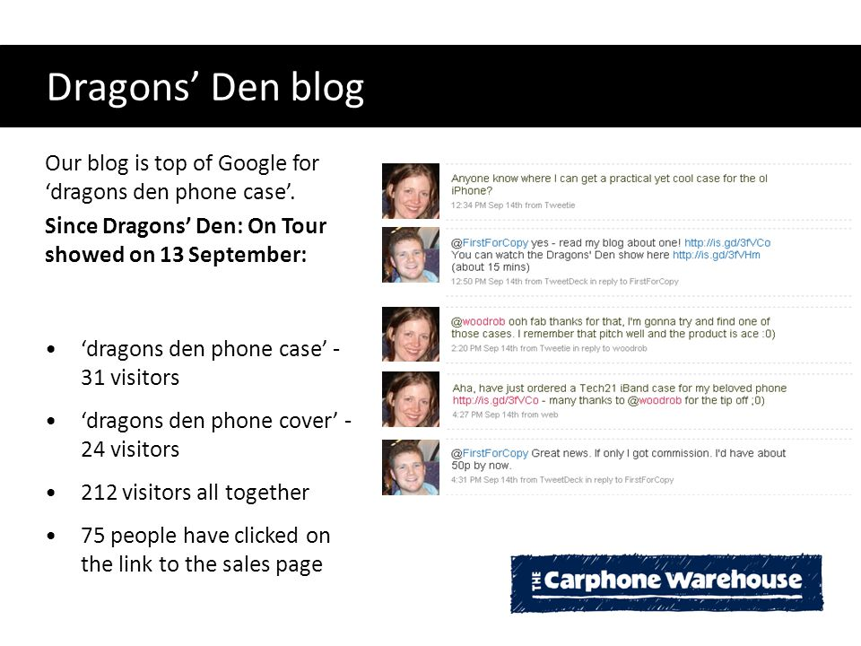 Dragons' Den blog Our blog is top of Google for 'dragons den phone case'. Since Dragons' Den: On Tour showed on 13 September: 'dragons den phone case'