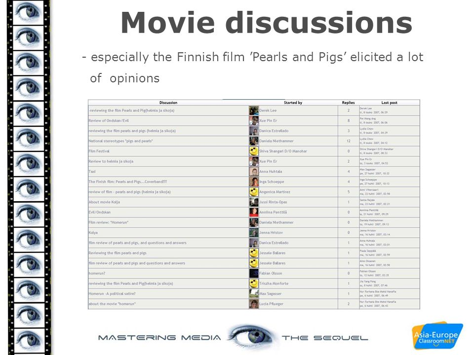Movie discussions - especially the Finnish film 'Pearls and Pigs' elicited a lot of opinions