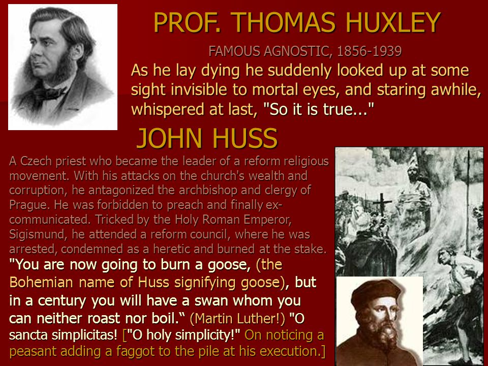 JOHN HUSS A Czech priest who became the leader of a reform religious movement. With his attacks on the church's wealth and corruption, he antagonized