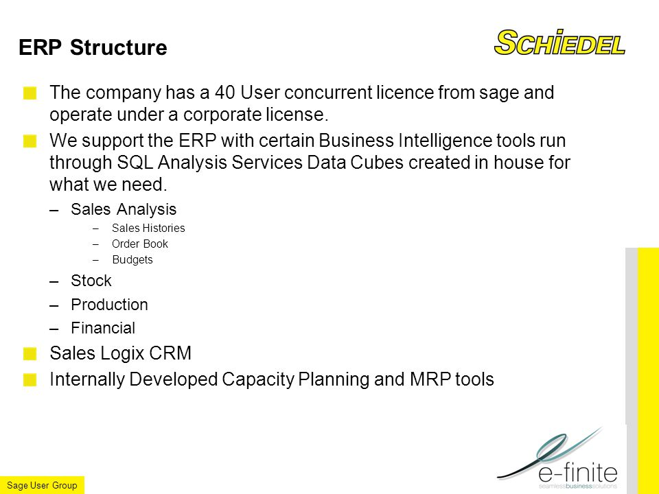 Sage User Group ERP Structure The company has a 40 User concurrent licence from sage and operate under a corporate license.