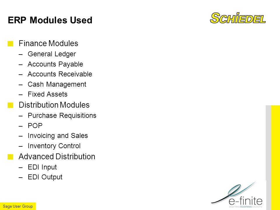 Sage User Group ERP Modules Used Finance Modules –General Ledger –Accounts Payable –Accounts Receivable –Cash Management –Fixed Assets Distribution Modules –Purchase Requisitions –POP –Invoicing and Sales –Inventory Control Advanced Distribution –EDI Input –EDI Output