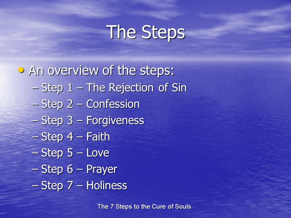 The 7 Steps to the Cure of Souls The Steps An overview of the steps: An overview of the steps: –Step 1 – The Rejection of Sin –Step 2 – Confession –Step 3 – Forgiveness –Step 4 – Faith –Step 5 – Love –Step 6 – Prayer –Step 7 – Holiness