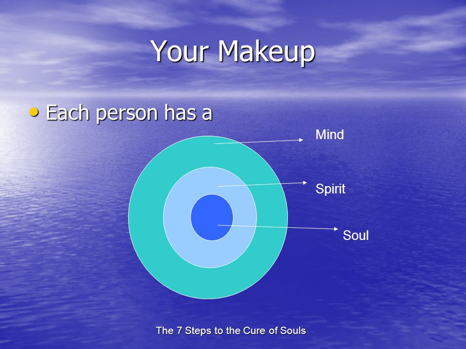 The 7 Steps to the Cure of Souls Your Makeup Each person has a Each person has a Mind Spirit Soul