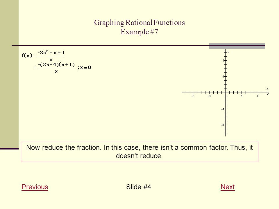 Graphing Rational Functions Example #7 PreviousPreviousSlide #4 NextNext Now reduce the fraction.