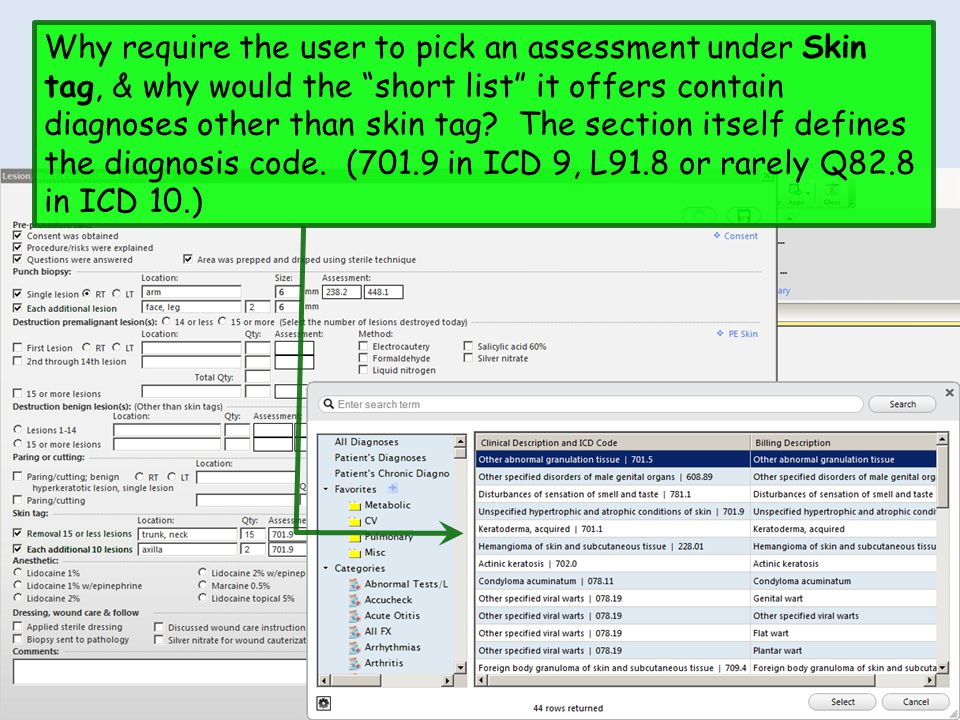 Why require the user to pick an assessment under Skin tag, & why would the short list it offers contain diagnoses other than skin tag.
