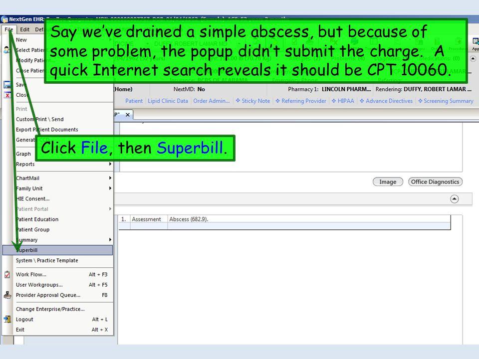 Click File, then Superbill.