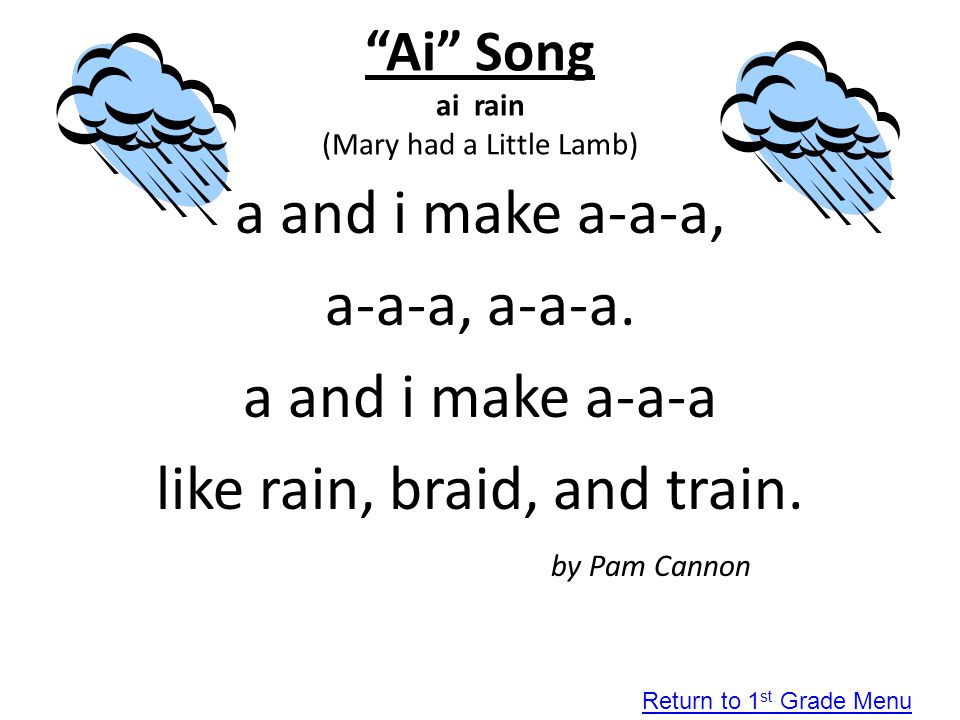 """""""Ai"""" Song ai rain (Mary had a Little Lamb) a and i make a-a-a, a-a-a, a-a-a. a and i make a-a-a like rain, braid, and train. by Pam Cannon Return to 1"""