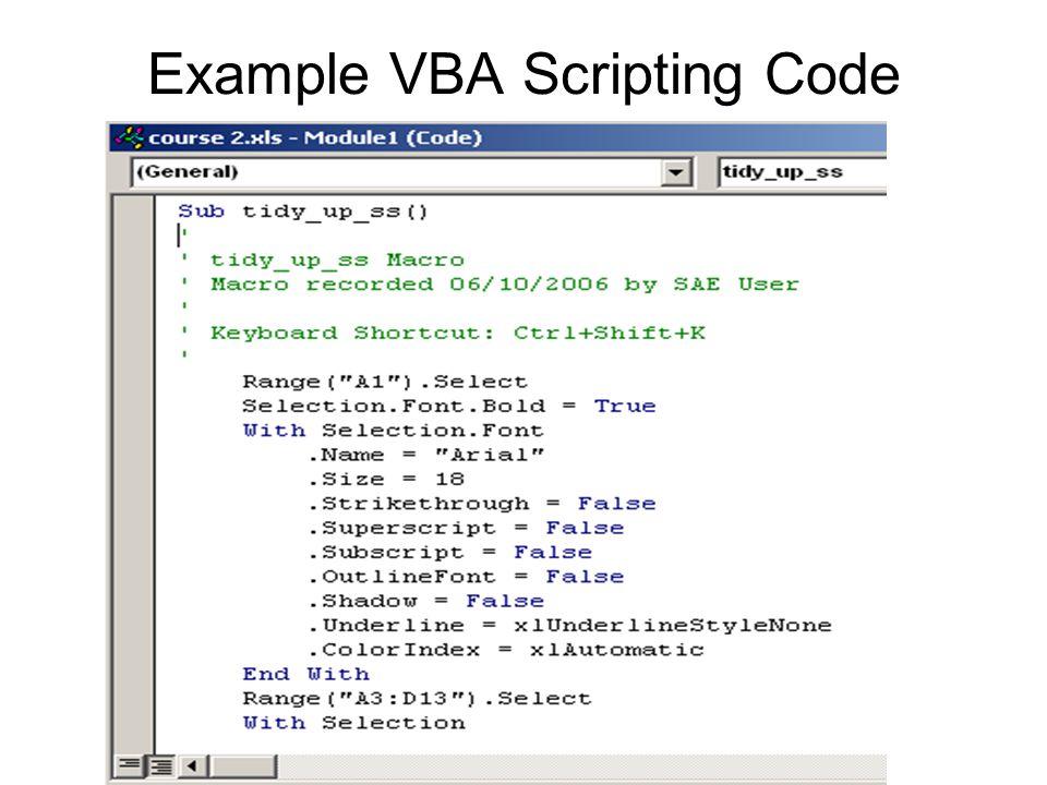 Example VBA Scripting Code