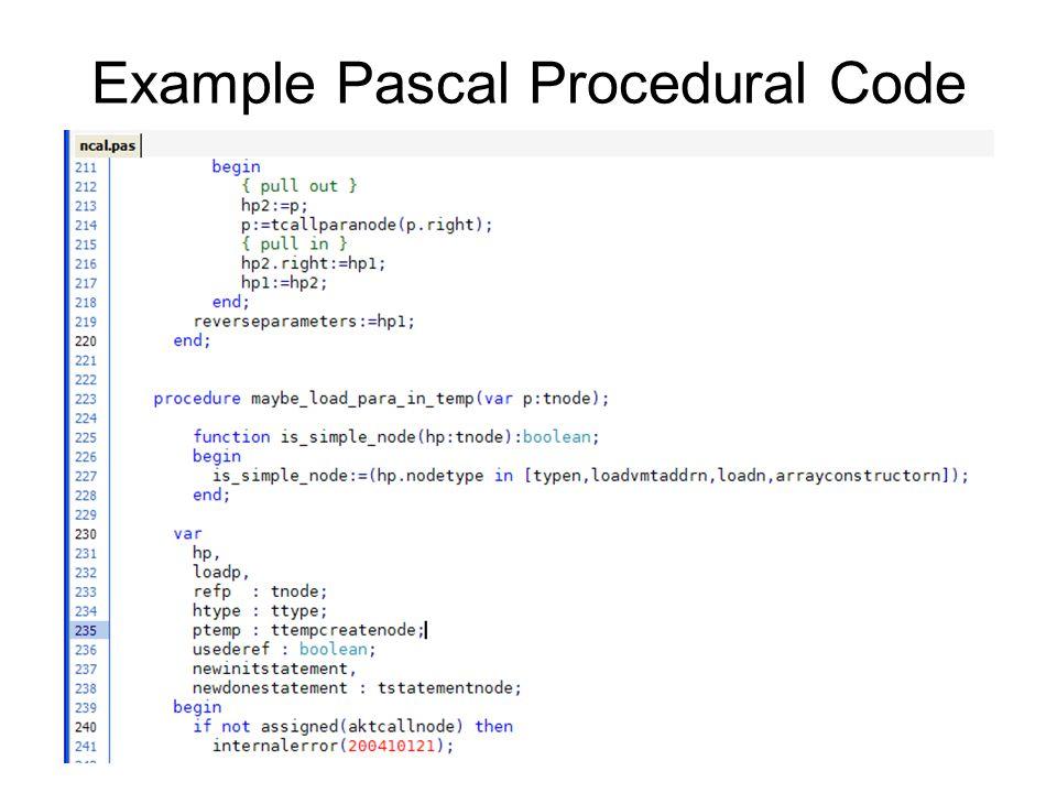 Example Pascal Procedural Code