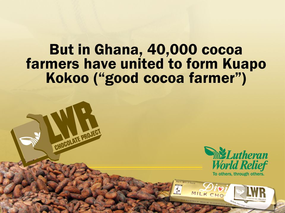 But in Ghana, 40,000 cocoa farmers have united to form Kuapo Kokoo ( good cocoa farmer )