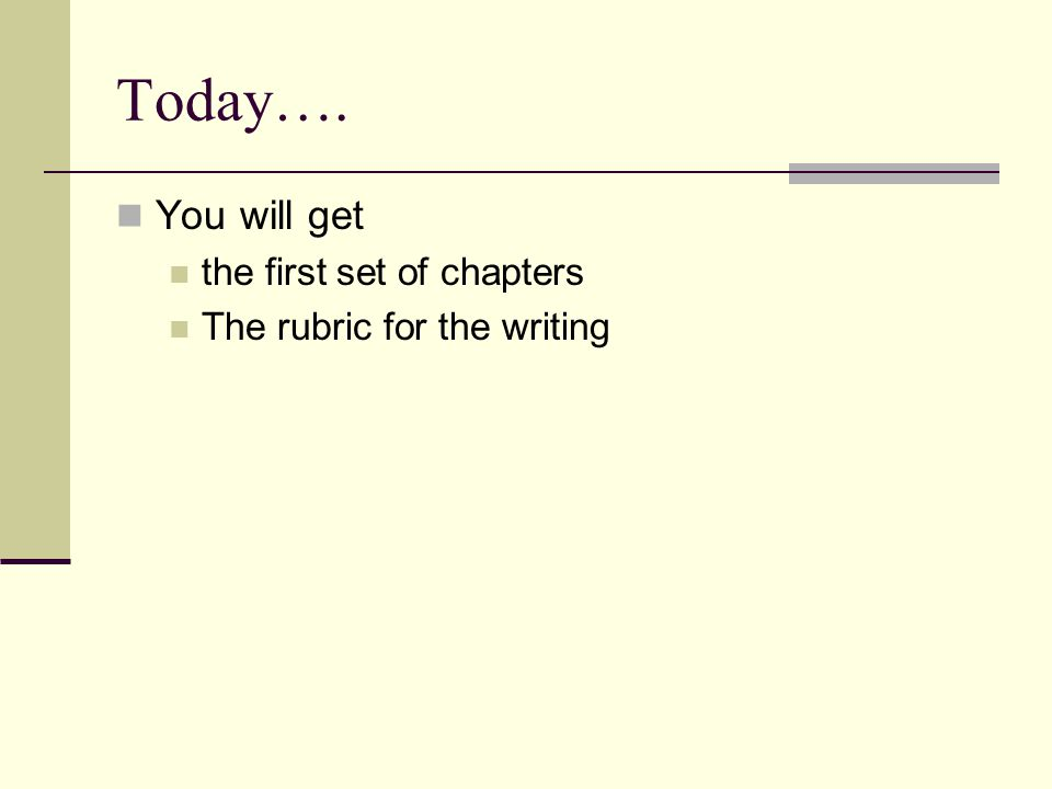 Today…. You will get the first set of chapters The rubric for the writing