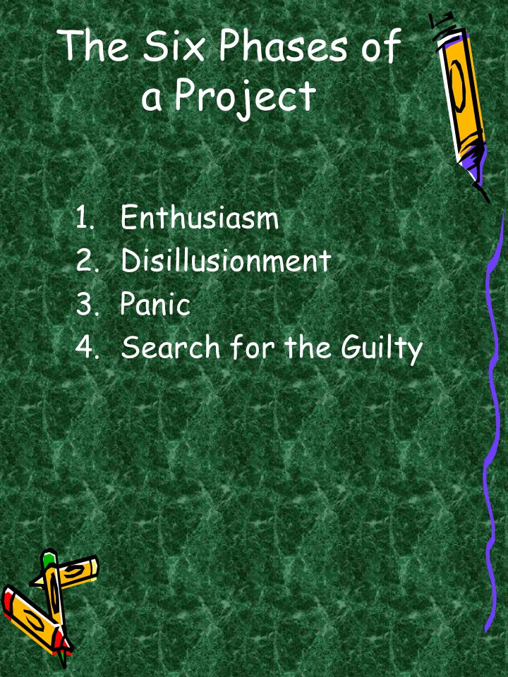 The Six Phases of a Project 1.Enthusiasm 2.Disillusionment 3.Panic 4.Search for the Guilty