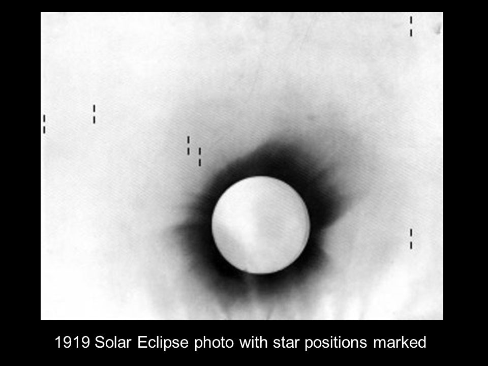 1919 Solar Eclipse photo with star positions marked