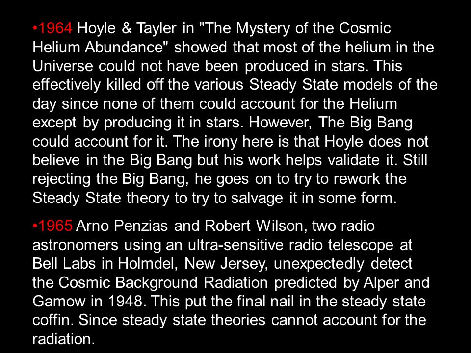 1964 Hoyle & Tayler in The Mystery of the Cosmic Helium Abundance showed that most of the helium in the Universe could not have been produced in stars.