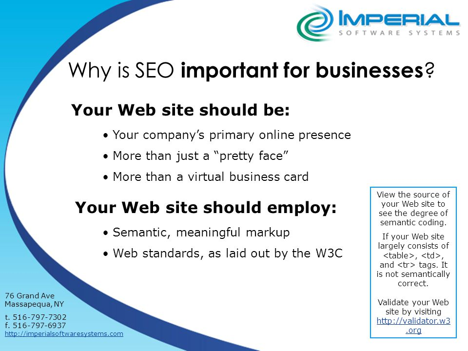 Why is SEO important for businesses . 76 Grand Ave Massapequa, NY t.