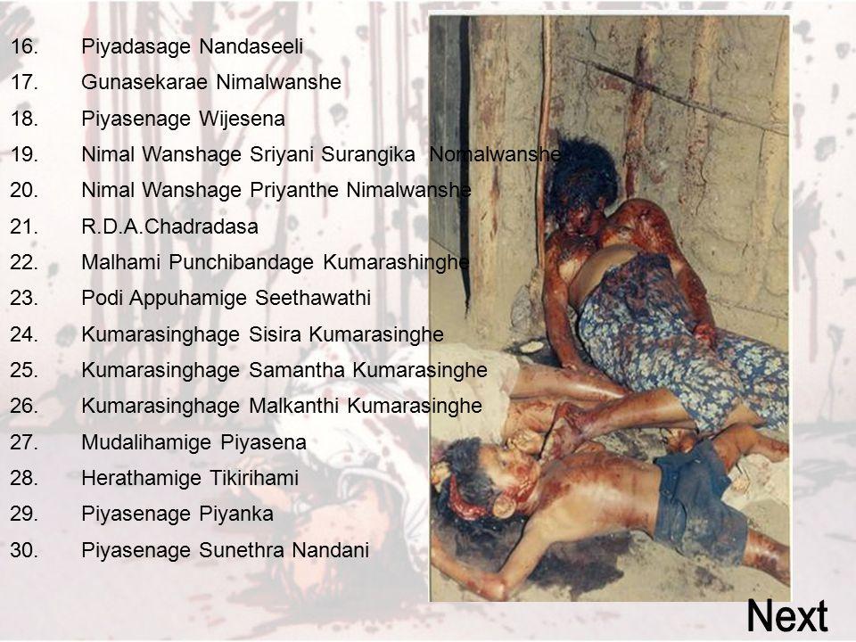 01. K.R Amarasinghe Karunaratne 02. Punchiralage Somawathi 03. Saman Ravidralal Amarasinghe 04. Kumudu Nalanee Amarasinghe 05. A.Hethuhami 06. Nimal K
