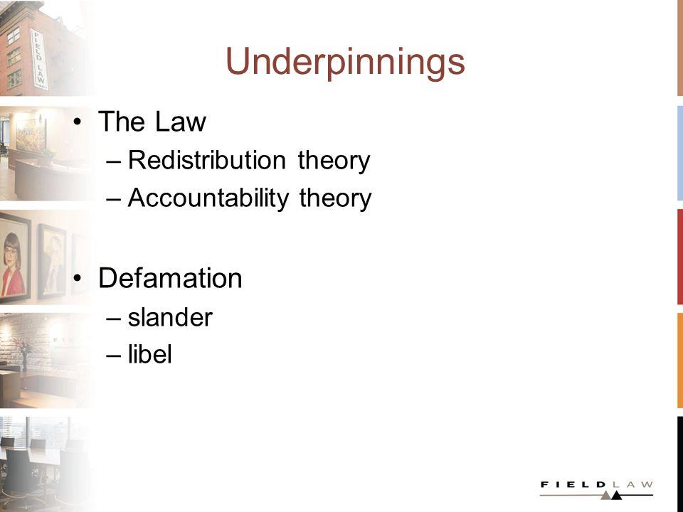 Underpinnings The Law –Redistribution theory –Accountability theory Defamation –slander –libel