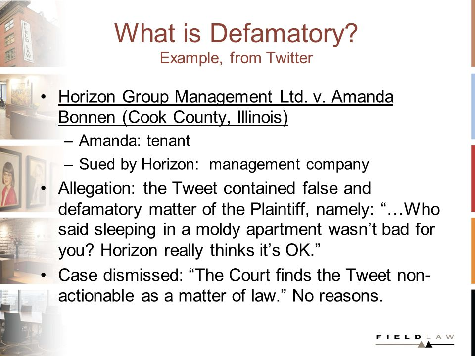 What is Defamatory. Example, from Twitter Horizon Group Management Ltd.