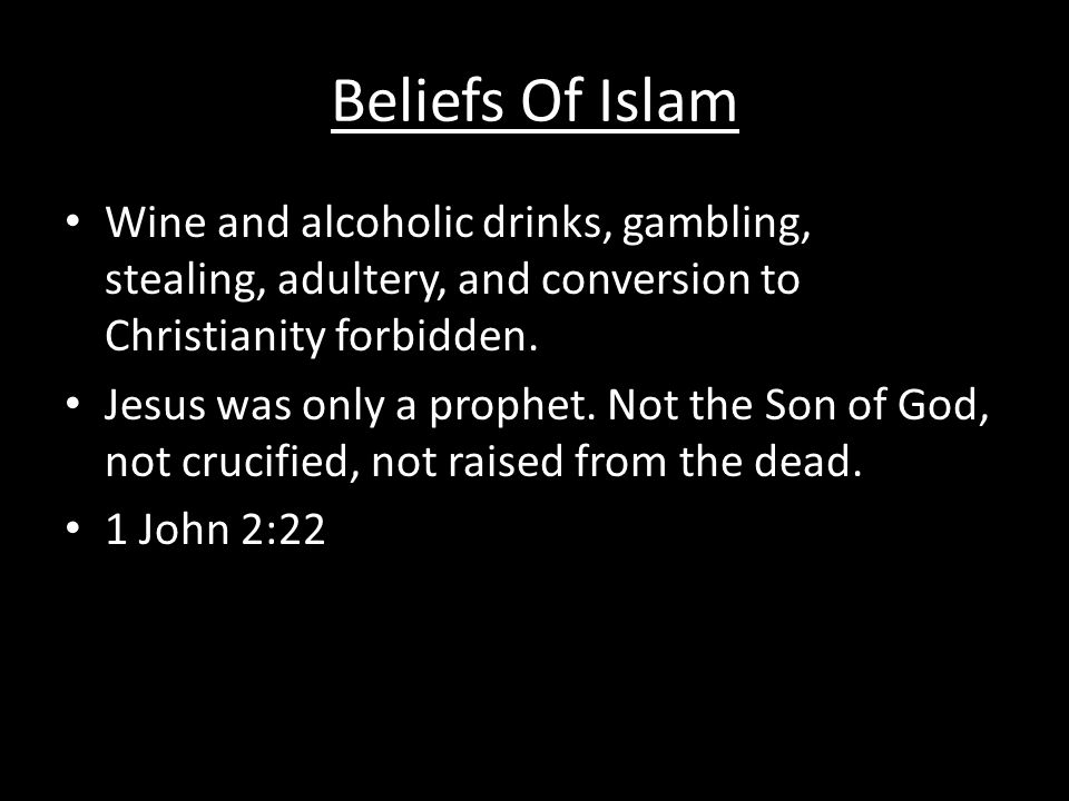 Beliefs Of Islam Wine and alcoholic drinks, gambling, stealing, adultery, and conversion to Christianity forbidden.