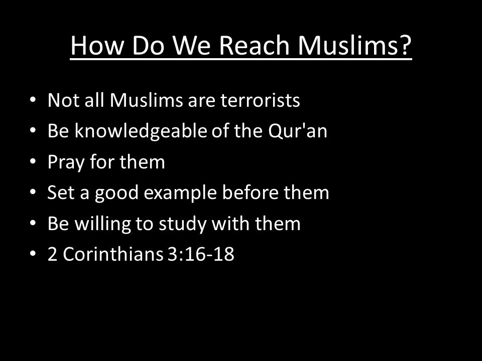 How Do We Reach Muslims.