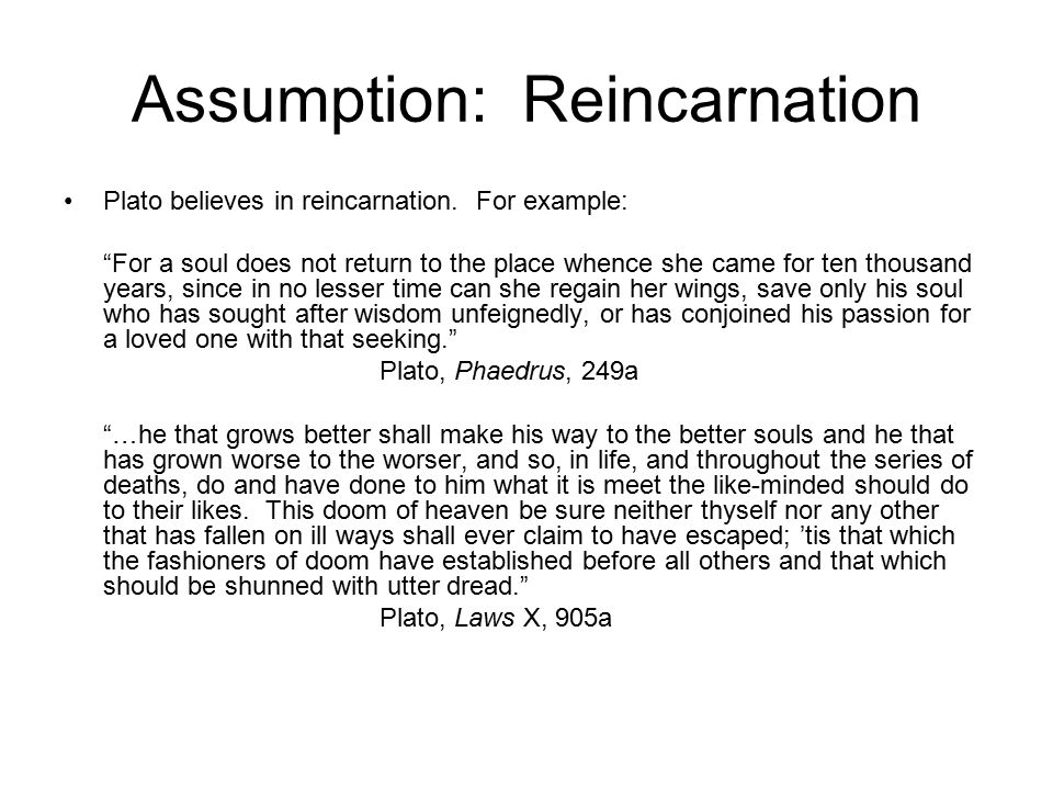 Assumption: Reincarnation Plato believes in reincarnation.