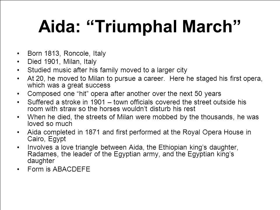 Verdi Also Sprach Zarathustra: Prelude Aida: Triumphal March Gloria in D: Gloria In excelsis Deo American Salute