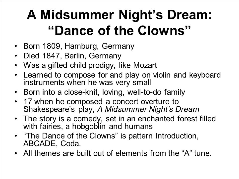 "Mendelssohn Gianni Schicchi: ""O Mio babbino caro"" ""American Salute"" ""Take Five""A Midsummer Night's Dream: ""Dance Of the Clowns"""