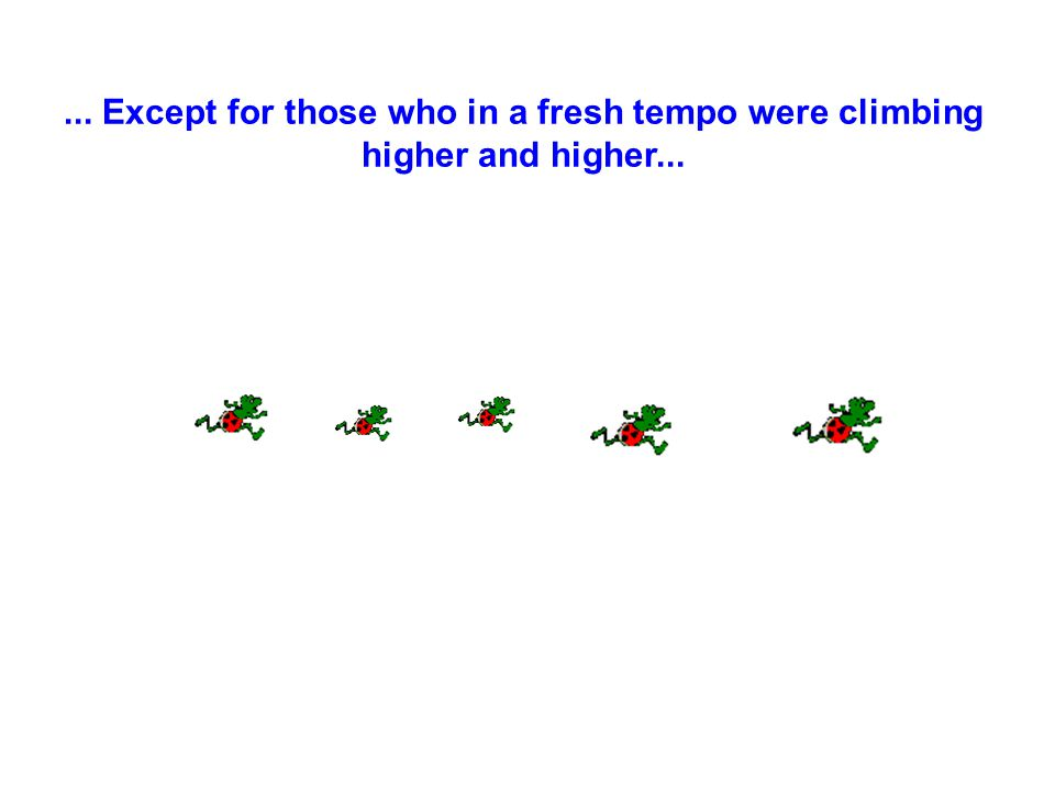 ... Except for those who in a fresh tempo were climbing higher and higher...