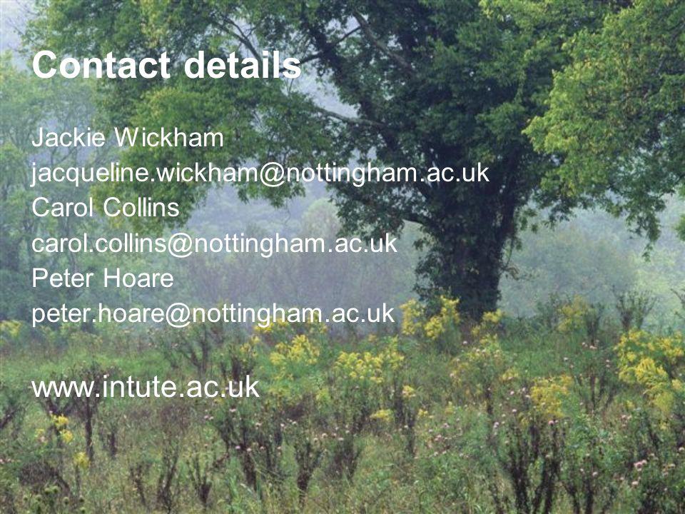 Contact details Jackie Wickham jacqueline.wickham@nottingham.ac.uk Carol Collins carol.collins@nottingham.ac.uk Peter Hoare peter.hoare@nottingham.ac.uk www.intute.ac.uk