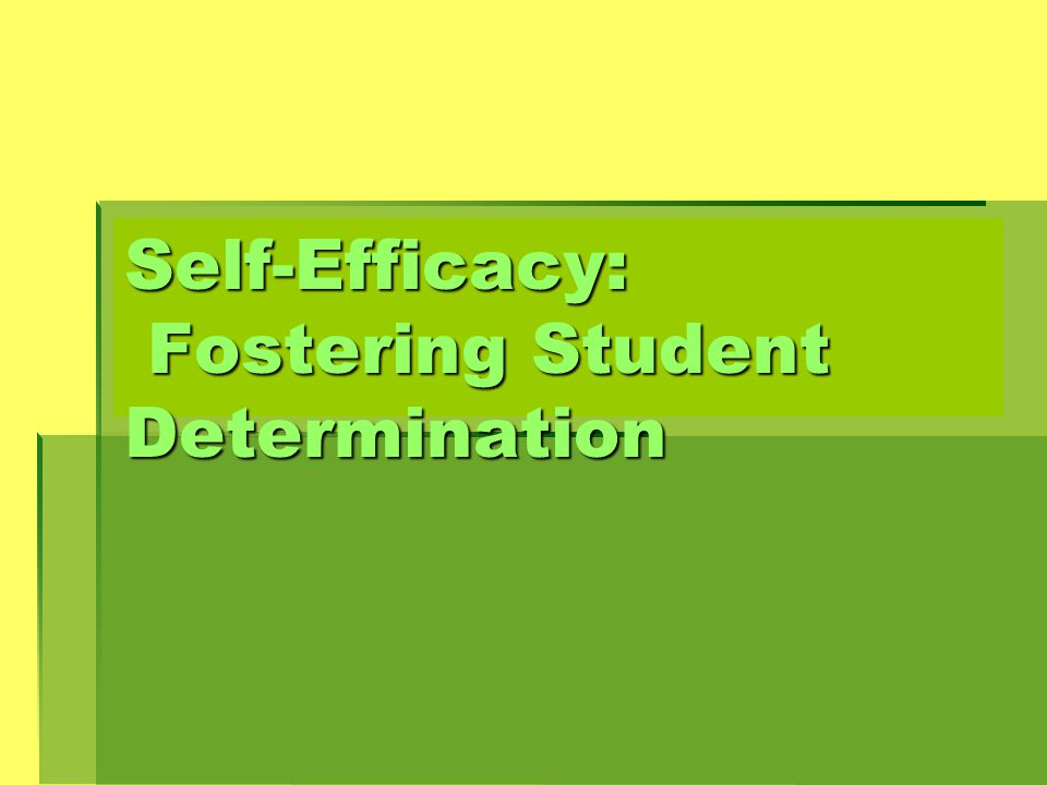 Self-Efficacy: Fostering Student Determination