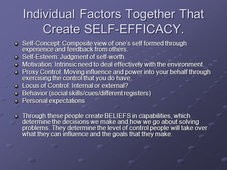 Individual Factors Together That Create SELF-EFFICACY.